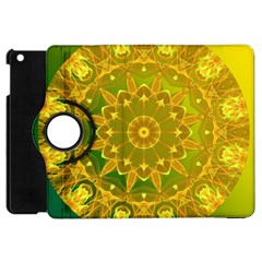 Yellow Green Abstract Wheel Of Fire Apple Ipad Mini Flip 360 Case