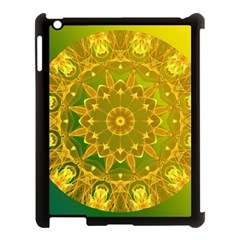 Yellow Green Abstract Wheel Of Fire Apple Ipad 3/4 Case (black)
