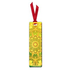 Yellow Green Abstract Wheel Of Fire Small Bookmark