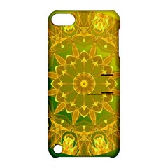 Yellow Green Abstract Wheel Of Fire Apple Ipod Touch 5 Hardshell Case With Stand by DianeClancy