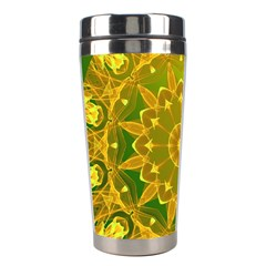 Yellow Green Abstract Wheel Of Fire Stainless Steel Travel Tumbler