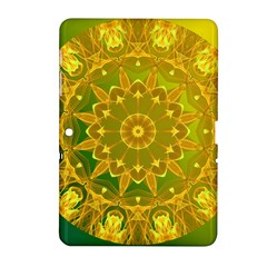 Yellow Green Abstract Wheel Of Fire Samsung Galaxy Tab 2 (10 1 ) P5100 Hardshell Case  by DianeClancy