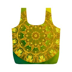 Yellow Green Abstract Wheel Of Fire Reusable Bag (m)