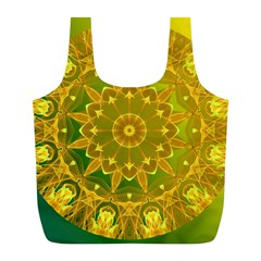 Yellow Green Abstract Wheel Of Fire Reusable Bag (l)