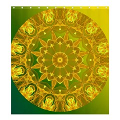 Yellow Green Abstract Wheel Of Fire  Shower Curtain 66  X 72  (large)