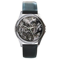 Snowy Trees Round Leather Watch (silver Rim) by DmitrysTravels