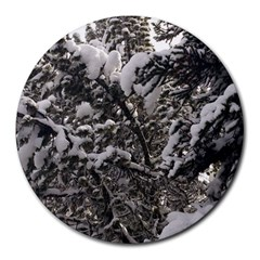 Snowy Trees 8  Mouse Pad (round) by DmitrysTravels