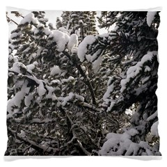 Snowy Trees Large Cushion Case (single Sided)  by DmitrysTravels