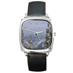 Trees Square Leather Watch by DmitrysTravels