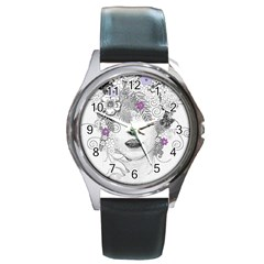 Flower Child Of Hope Round Leather Watch (silver Rim) by FunWithFibro