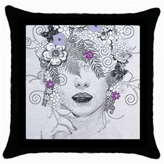 Flower Child Of Hope Black Throw Pillow Case by FunWithFibro