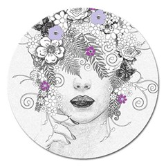 Flower Child Of Hope Magnet 5  (round) by FunWithFibro
