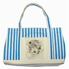 Flower Child Of Hope Blue Striped Tote Bag by FunWithFibro