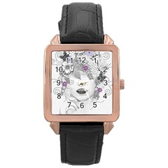 Flower Child Of Hope Rose Gold Leather Watch  by FunWithFibro