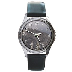 Mountains Round Leather Watch (silver Rim) by DmitrysTravels