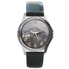 Gondola Round Leather Watch (silver Rim) by DmitrysTravels