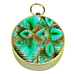 Spring Leaves, Abstract Crystal Flower Garden Gold Compass by DianeClancy