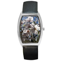 Cherry Blossoms Tonneau Leather Watch by DmitrysTravels