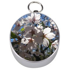 Cherry Blossoms Silver Compass
