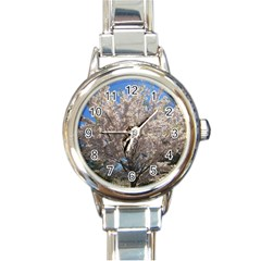 Cherry Blossoms Tree Round Italian Charm Watch by DmitrysTravels