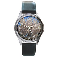 Cherry Blossoms Tree Round Leather Watch (silver Rim) by DmitrysTravels