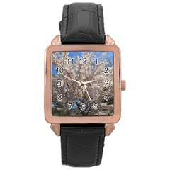 Cherry Blossoms Tree Rose Gold Leather Watch