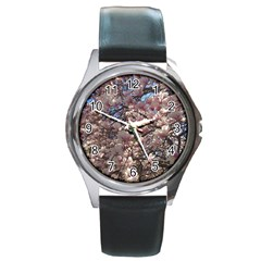 Sakura Round Leather Watch (silver Rim) by DmitrysTravels