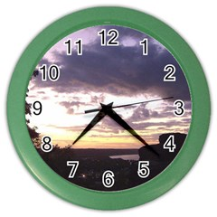 Sunset Over The Valley Wall Clock (color) by Majesticmountain