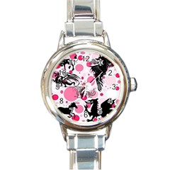 Fantasy In Pink Round Italian Charm Watch by StuffOrSomething