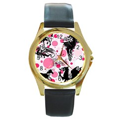 Fantasy In Pink Round Leather Watch (gold Rim)  by StuffOrSomething