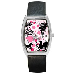 Fantasy In Pink Tonneau Leather Watch by StuffOrSomething