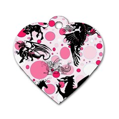 Fantasy In Pink Dog Tag Heart (two Sided) by StuffOrSomething