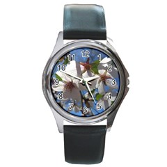 Cherry Blossoms Round Leather Watch (silver Rim) by DmitrysTravels