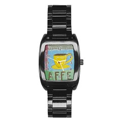 Kaffe Painting Stainless Steel Barrel Watch by StuffOrSomething