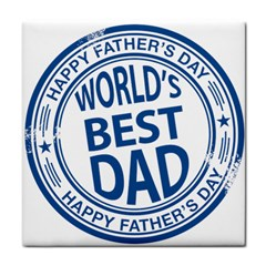 Fathers Day Rubber Stamp Effect Ceramic Tile by Zandiepants