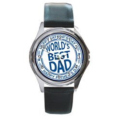 Fathers Day Rubber Stamp Effect Round Leather Watch (silver Rim) by Zandiepants