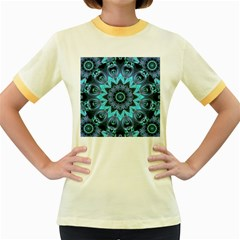 Star Connection, Abstract Cosmic Constellation Women s Ringer T Shirt (colored)