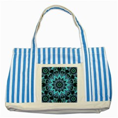 Star Connection, Abstract Cosmic Constellation Blue Striped Tote Bag