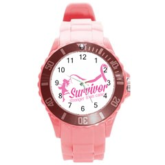 Survivor Stronger Than Cancer Pink Ribbon Plastic Sport Watch (large) by breastcancerstuff