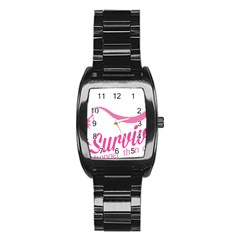 Survivor Stronger Than Cancer Pink Ribbon Stainless Steel Barrel Watch by breastcancerstuff