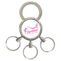 Survivor Stronger Than Cancer Pink Ribbon 3 Ring Key Chain by breastcancerstuff