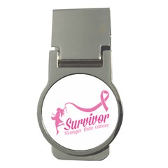 Survivor Stronger Than Cancer Pink Ribbon Money Clip (round) by breastcancerstuff
