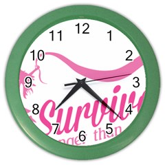 Survivor Stronger Than Cancer Pink Ribbon Wall Clock (color) by breastcancerstuff