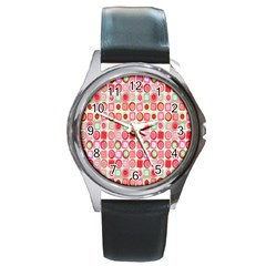 Far Out Geometrics Round Leather Watch (silver Rim) by StuffOrSomething