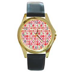 Far Out Geometrics Round Leather Watch (gold Rim)