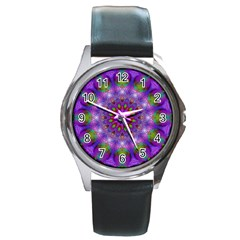 Rainbow At Dusk, Abstract Star Of Light Round Leather Watch (silver Rim) by DianeClancy