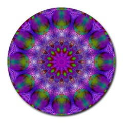 Rainbow At Dusk, Abstract Star Of Light 8  Mouse Pad (round) by DianeClancy