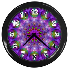 Rainbow At Dusk, Abstract Star Of Light Wall Clock (black) by DianeClancy
