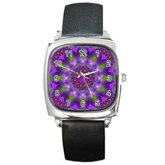 Rainbow At Dusk, Abstract Star Of Light Square Leather Watch by DianeClancy