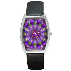 Rainbow At Dusk, Abstract Star Of Light Tonneau Leather Watch by DianeClancy